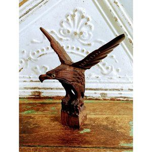 Vintage Carved Wood Eagle Glass Eyes Folk Art